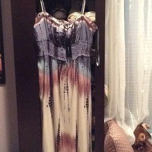BCBG maxazria tie dye maxi dress, silk, st…